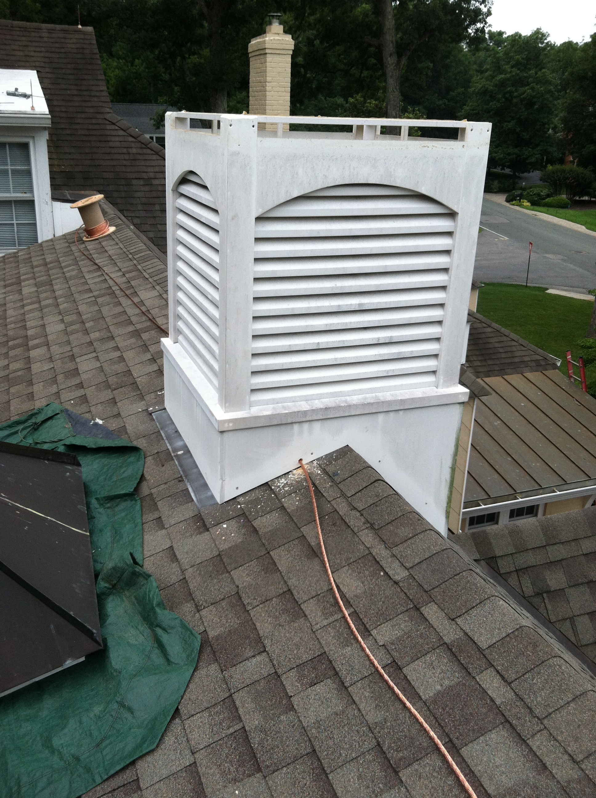 Cupola Conductor Concealment and Decorative Finial Install