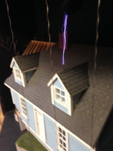 Lightning Strike From Tesla Coil to Model House