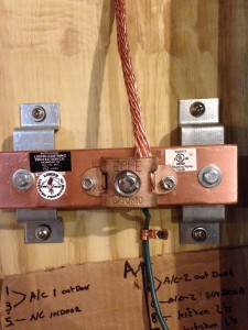 Copper Bus Bar Installation for Communications Room Common Grounding