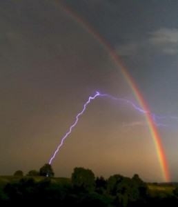 Lightning Strike to a Tree with an accompanying Rainbow!